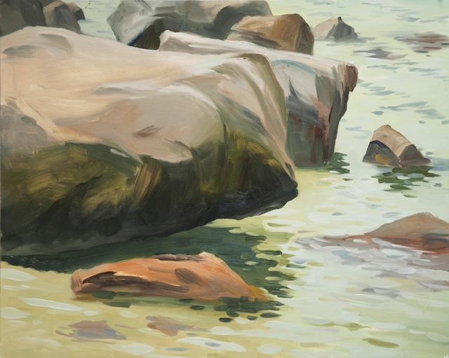 Knee Deep, Cambridge Beach, oil on panel, 16 x 20, 2012