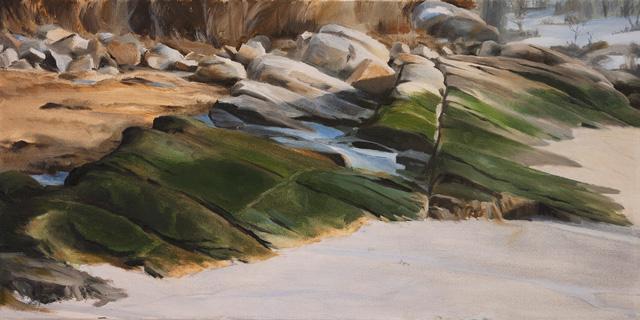 Ledge, Lighthouse Beach, oil on canvas, 12 x 24, 2013