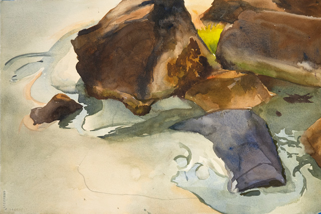 Leftovers, Cambridge Beach, watercolor 15 x 22, 2009