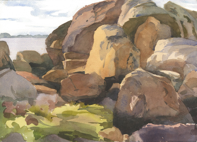 Rocks near the Perry's, watercolor, 10 x 14, 2013