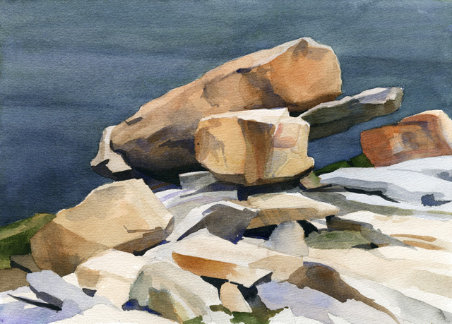 Rocks near Lane's Cove, watercolor, 10 x 14, 2005