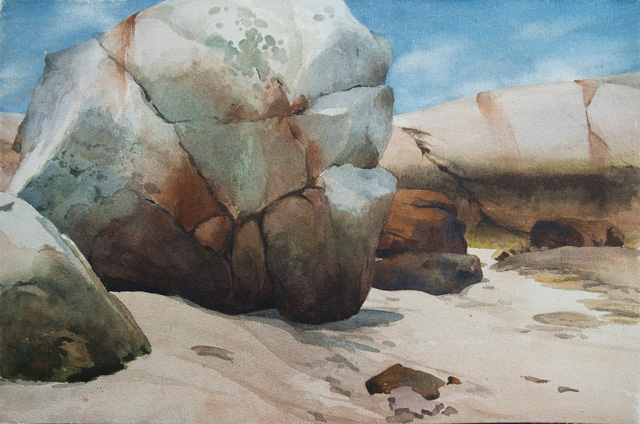 Sign Rock, Cambridge Beach, watercolor 15 x 22, 2013