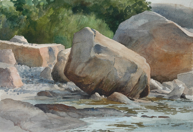 Slanted Rock near Bent's, watercolor 15 x 22, 2013